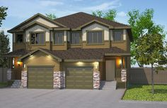 Featured Colors: Olivewood and Wicker with Wicker Trim. Double Garage, Semi Detached, Estate Homes, Condo, Shed, New Homes, Floor Plans, Real Estate, Exterior