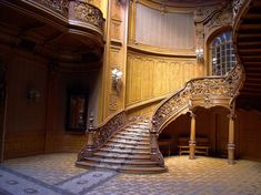 The curving, grand staircase in The House of Scientists. The building used to be a casino for Polish Royals.
