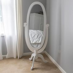Decor Therapy Caroline Cheval Oval White Floor Mirror - The Home Depot Living Room Mirrors, Home Decor Mirrors, Bathroom Wall Decor, Living Room Decor, White Floor Mirror, Wall Mirror, Stand Up Mirror, Pedestal, Cheval Mirror