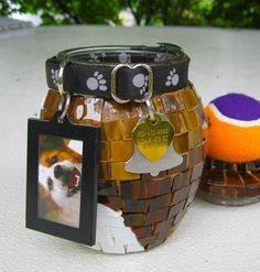 Pet Cremation Urn.  Stained glass is so beautiful and there is such an assortment of colors. So one day it came to me when trying to choose a shade of brown, that this could be a good way to represent the beautiful coat of a pet. www.judysell.com