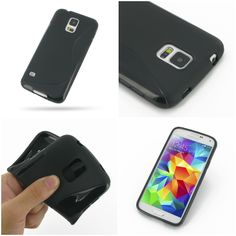 PDair Soft Plastic Case for Samsung Galaxy S5 SM-G900 (Black/S Shape pattern)
