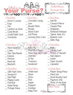 What's in Your Purse Bridal Shower Game by BridalShowerBoutique