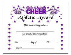 cheerleading certificate ideas - Google Search Cheer Camp, Football Cheer, Cheer Coaches, Cheer Stunts, Cheer Dance, Basketball Cheers, Dance Camp, Cheer Gifts, Team Gifts