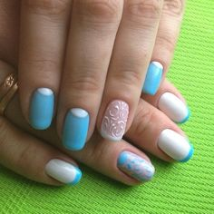 Beautiful winter nails, Blue and white french nails, Blue and white nails, Dimension nails, Half moon nails 2016, Half-moon nails ideas, Nails with curls, Original nails