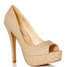 JustFab - Paola  Price: $52  Pay it forward with Paola. In addition to providing tantilizing texture the reptile print transforms a straightforward platform pump from sensible to chic. A pleasing peep toe is tasteful yet seductive while the slender stiletto will make legs look miles long. Wear Paola while doing good deeds or when you want to look good.