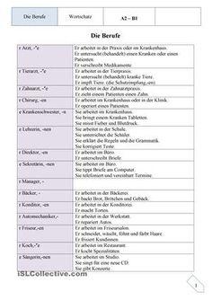Was macht man in welchem Beruf. Die Liste kann erweitert und natürlich bereichert werden, je nach Niveau. - DaF Arbeitsblätter