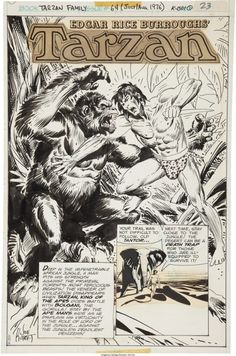 rocket-prose: Original Joe Kubert art from Tarzan Family... rocket-prose:  Original Joe Kubert art from Tarzan Family #64 (DC 1976)  Tarzan vs. Bolgani.  Joe considered Tarzan to be his favorite character and the love he showed when he worked on the titles was obvious.