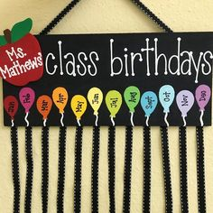 birthday month This hand painted class birthday sign is the perfect addition to any classroom! This sign features a wooden plaque with ribbon for hanging and ribbons to add clothe Preschool Birthday Board, Birthday Chart Classroom, Birthday Bulletin Boards, Birthday Wall, Birthday Charts, Classroom Board, Classroom Displays, Class Birthday Display, Behavior Management