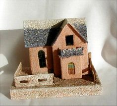 """Large Vintage Coconut Roof PUTZ Large Christmas Village 6 1/2"""" House Japan - Made in Japan....This is Large, measuring 6 1/2"""" wide x 4"""" deep x 5 1/8"""" tall."""