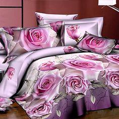 Tina Flower Three Dimensional Floral Print 4 Pcs Set Beddings - EUR € 24.06
