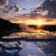 Sunset At The Great Fountain Geyser Yellow Stone National Park Wyoming