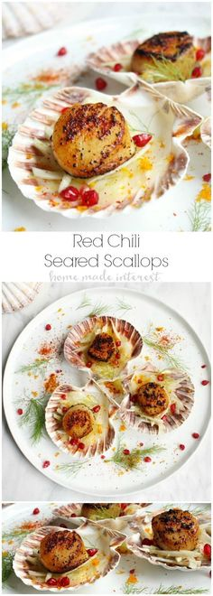 This Red Chili Seared Scallops and Citrus Fennel Salad is an elegant scallop appetizer recipe that will make a great New Year's Eve holiday appetizer. Summer Appetizer Recipes, Potato Appetizers, Elegant Appetizers, Appetizers For A Crowd, Seafood Appetizers, Appetizers For Party, Seafood Recipes, Party Snacks, Scallop Appetizer