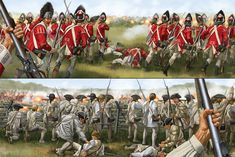 British Grenadiers charge as Continentals wait behind the dubious protection of a fence. Probably Saratoga. Independence War, American Independence, American Revolutionary War, American War, British Soldier, British Army, Military Art, Military History, British History