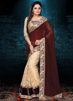 Majestic Cream N Brown Half N Half #Saree