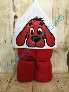 "Red Dog Applique Hooded Bath, Beach Towel 30"" x 54"" by MommysCraftCreations on Etsy"