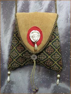 Romanic Era Cherub Jeweled Adornment Tapestry Shoulder Bag Pocket