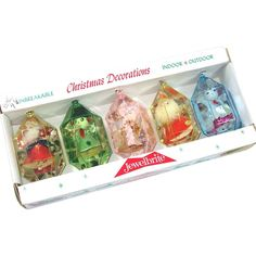 Box Jewel Brite 3D Plastic Christmas Ornaments Figures Inside Plastic Christmas Tree, Old Time Christmas, Christmas Light Bulbs, Antique Christmas Ornaments, Christmas Decorations For The Home, Christmas Makes, Christmas Past, Vintage Ornaments, Retro Christmas