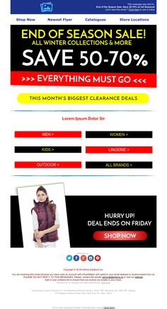 """""""Season Sale"""" Responsive Email design template - Exclusive Canvas template for email marketing - editable - No html skill required - No Photoshop needed Email Template Design, Email Design, Responsive Email, Ecommerce, New Flyer, Email Marketing Design, End Of Season Sale, No Photoshop, Everything Must Go"""