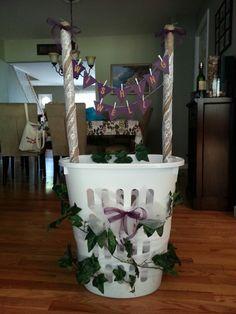 Pin-worthy wishing well. Wine themed bridal shower.