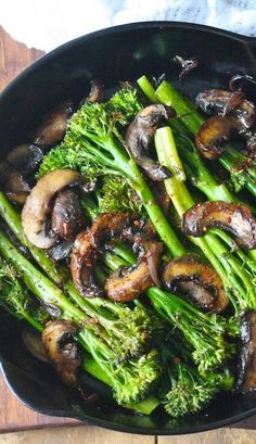 Roasted Broccolini with Mushrooms in Balsamic Sauce