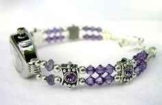 handmade jewelry | Beaded Watches Ladies Womens Crystal, Pearl, Wrist Watch Jewelry Bands