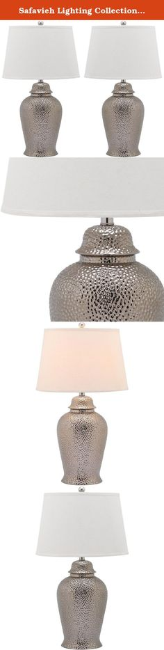 Safavieh Lighting Collection Metallica Ginger Jar Silver 27.75-inch Table Lamp (Set of 2). Exceptionally tactile and the epitome of understated elegance, the Metallica ginger jar lamp is a well-crafted design for traditional and transitional rooms. A hammered metal look is achieved with resin and contrasted with white cotton shade.
