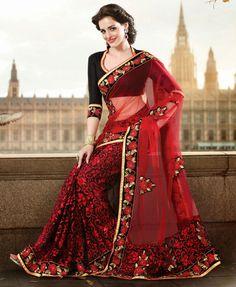 Red black women saree