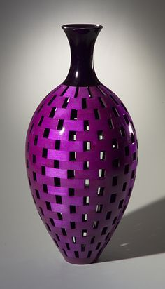 Tall Bottle: turned vessel of dyed, lacquered maple. By Joel Hunnicutt.