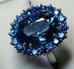 Beautiful Estate Carat Tanzanite, Sapphire and Diamond Ring from gondwanalandopals on Ruby Lane Tanzanite Jewelry, Tanzanite Ring, Diamond Jewelry, Gemstone Jewelry, Diamond Necklaces, Gold Jewellery, Silver Jewelry, Pretty Rings, Beautiful Rings