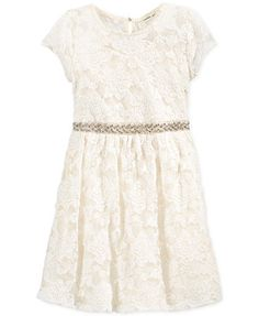 Monteau Girls' Embellished-Waist Lace Dress