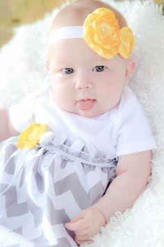 Baby Girl Onesie Dress Baby Girl Dress Chevron by ChelseaRoseBaby