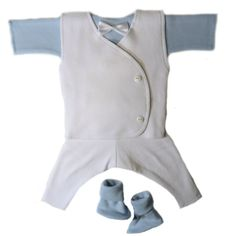 Baby Boys' Dapper White Suit with Blue Shirt