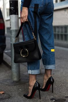 and heels Denim meets tights Denim meets tights › thefashionfractio. Look Fashion, Fashion Shoes, Winter Fashion, Fashion Outfits, Womens Fashion, Fashion Trends, Petite Fashion, Street Fashion, Girl Fashion