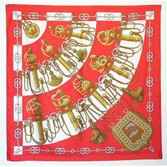 Vintage Hermes Cliquetis Orange Silk Scarf Nice coral color...just love coral in the summer!
