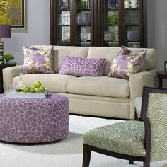 What a different color theme for a room.Love the lavenders and greens with cremes. I pinned this Corey Lee Sofa from the Better Homes & Gardens event at Joss & Main! Beige Living Rooms, Living Room Sets, Living Room Furniture, Home Furniture, Purple Furniture, Loft, Table Sizes, Table Height, The Fresh