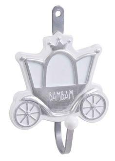 BAMBAM zilveren kapstokhaakje koets uit de online shop van Babyaccessoires.eu. Ook in andere figuurtjes.