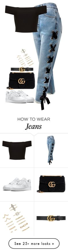 """Untitled #795"" by ayalikeschicken on Polyvore featuring Sans Souci, NIKE, Gucci and Forever 21"