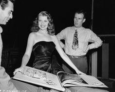 Rita Hayworth on the set of Gilda.