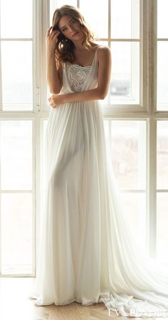 Ethereal a-line wedding dresses with spaghetti straps | Beautiful bridal gown for the romantic bride | Eva Lendel Wedding Dresses 2021- Less is More Collection -Enni - Belle The Magazine | See more gorgeous bridal gowns by clicking on the photo