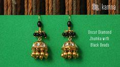 177 - Uncut Diamond Jhumka with Black Beads Diamond Jhumkas, Gold Jhumka Earrings, Jewelry Design Earrings, Gold Earrings Designs, Bead Jewellery, Light Weight Gold Jewellery, Gold Jewelry Simple, Gold Earrings For Kids, Gold Bangles Design