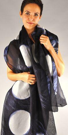 Indigo Colour, Silk Organza, Shibori, Capes, Shawls, Wearable Art, Polka Dots, Textiles, Concept