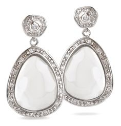 CLEAR resin small nugget post earrings in silvertone with WHITE CZ detail