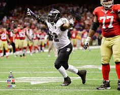 Ray Lewis Celebrates the final play of his NFL career Super Bowl XLVII Photo 14 x 11in
