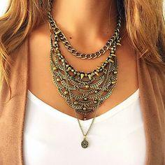 Frilly brass necklace