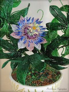Amazing French Beaded Passion Flower up close from a wreath made by Svetlana Sapegina French Beaded Flowers, Wire Flowers, Real Flowers, How To Make Wreaths, How To Make Beads, Beaded Flowers Patterns, Wire Trees, Passion Flower, Beading Projects