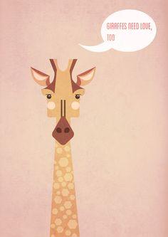 Giraffe Love Illustration by Diana Barbu