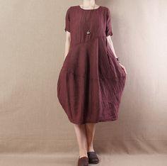 Women Linen Short Sleeve Dress