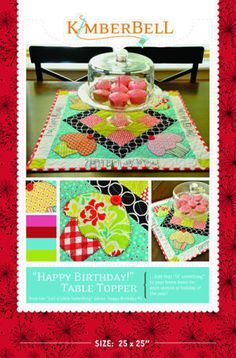 Download Just a Little Something...for a Happy Birthday! Table Topper Sewing Pattern   Quilting   YouCanMakeThis.com
