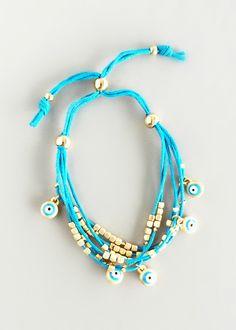 Aqua Evil Eye Bracelet – Pree Brulee