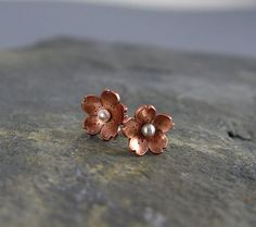 Cherry Blossom copper Post Earrings POINTED Petals by HapaGirls, $30.00